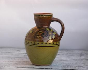 Vintage 1980's Glazed Pottery - Ceramic Stoneware Pitcher, Vase, Jug - Home decor - Made in USSR