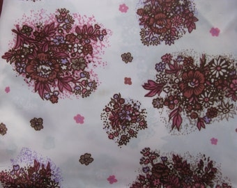 Vintage 80's colorful acetate silk fabric, floral ornament, pink, purple, brown -  4 Yard.