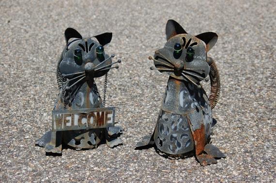 Rusty metal cat art sculptures pair of black metal cat for Cat yard art