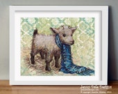 Cute Goat with Blue Scarf: hand signed art print