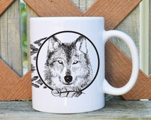 Wolf - Tribal Pattern - 11 or 15 oz. Coffee Mug - Tickled Teal