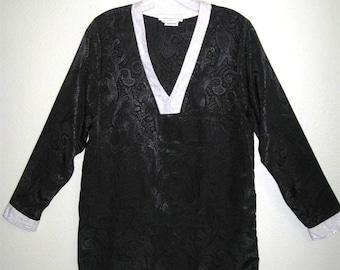 1980s Anthony Sicari Black Paisley Long Sleeve Caftan/Tunic Blouse Top