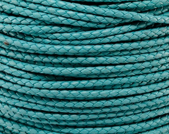 3MM TURQUOISE Round Braided Bolo Leather Cord - By The Yard - 1 Yard, 5 Yards, 10 Yards