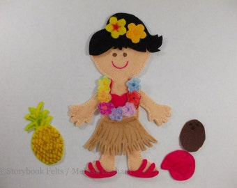 SHOP CLOSING SALE - Felt Doll Outfit Island Girl Luau Felt Doll Dress Up Set Without Doll Non Paper Doll Paper Doll