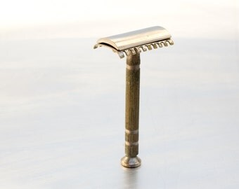 Vintage Grey Silver Man Shaver Gold Slim Adjustable Double Edge Safety Razor Traditional Wet Shaving  Gift For Him, ohtteam