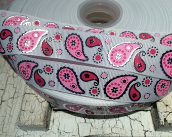 "7/8"" Metallic Silver Foil Pink and White PAISLEY Grosgrain Ribbon sold by the yard"