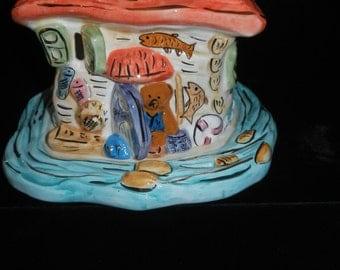 Candle Holder - Colorful Ceramic - Fish Tank - Aquarium House