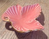 Vintage Pink and Gold Leaf Trinket Dish - Ashtray - 1950's - PackandAlleys