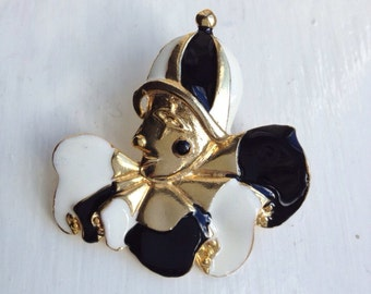 Pierrot Clown Vintage Brooch