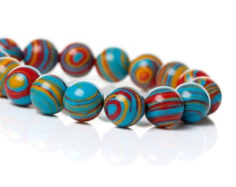 Graffiti Blue Fordite Beads-10mm