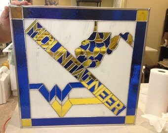 "West Virginia ""MOUNTAINEER"" Stained Glass Panel"