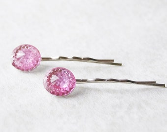 hair Clips hair accessories Pink Bobby Pins Pink hair Clips baby Pink Sparkly Pale Pink Hair Pin Set Bridal Hair Pins Rhinestone Bobby Pins