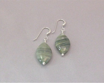 Sterling Silver and Green Serpentine Earrings