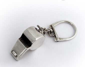 Vintage Minimalistic Whistle Keychain Sterling Silver 925