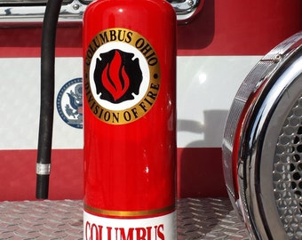 Custom painted fire extinguisher lamp for Firefighters.