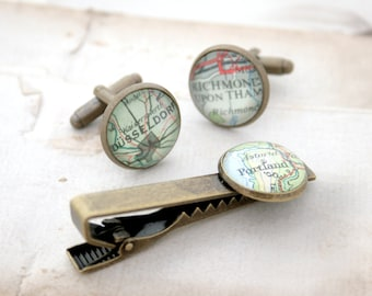 Antique Bronze Tie Clip and Cufflink Set Custom Map Cuff links and Tie Bar Bronze Anniversary Gift for Men Map Cufflink and Tie Clip