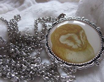 Silver Tibetan Metal Necklace OWL Resin Pendant, Handmade, Artisan,