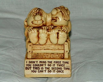 Vintage 1972 Paula Home Decor Humorous Collectible Figurine Couple in Bed Figure W269 First Time You Couldn't Do It Twice...Can't Do It Once