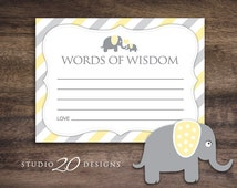 Instant Download Yellow Elephant Advice Cards, Yellow Baby Shower Games, Yellow Grey Elephant Words of Wisdom, Printable Advice Cards #22F