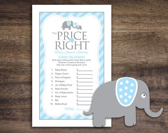Instant Download Elephant Theme Baby Shower The Price Is Right Game Cards, Printable Party Sheets, Boy Blue Grey Striped Card #22C