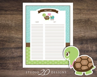 Instant Download Turtle Gift List, Printable Baby Shower Gift Tracker Sheet, Blue Green Turtle Gift Checklist 56A