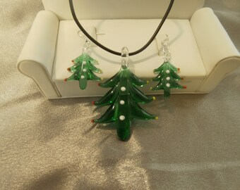 Christmas Tree Lampwork Glass Necklace and Earring Set- Christmas Jewelry, Jewelry Set, Christmas Necklace, Christmas Earrings