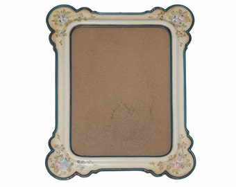 Antique French Provence Style Hand Painted Wood Wall Mirror with Flower Decors