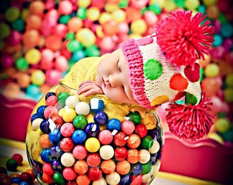 5ft x 6ft Kids Photography - Colorful Gumball Candy Photography Backdrop or Floordrop - Item 202