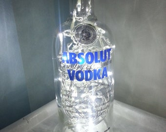 Upcycled Modern Cool Absolut Vodka Bottle Lamp - Rare 1L - by iluvlamp