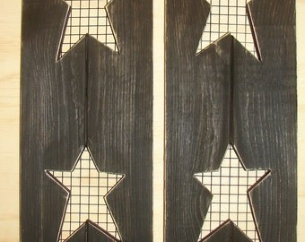 "Decorative wood shutters with  stars  and rabbit wire.  24"" high and 7"" wide, many colors"