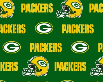 GREEN BAY Packers NFL Cotton Fabric By The Yard Sports Team Football 100% Cotton New