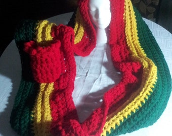 Based in NYC - Rasta Colors Styled in this Blazing Handmade Crocheted  Infinity Scarf with a Red Pocket and Draw String. Can be Customized