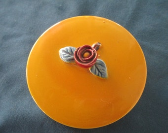 Vintage Yellow Porcelain Powder Jar With Rose Cover Additional Section Vintage Vanity Vintage Cosmetic Jar Vintage Dresser Jar Gifts
