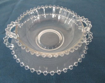 Vintage Candlewick Handle Serving Bowl With Under plate Depression Glass Collectible