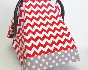 Infant Car Seat Canopy Cover, Red and White Chevron and Gray Polka Dot