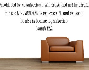 Bible Verse Wall Decal, Isaiah 12:2, Scripture Wall Decal