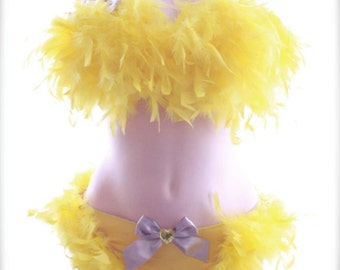 34D - yellow and silver rhinestone bow and feather bra and panty - burlesque lingerie boudoir costume
