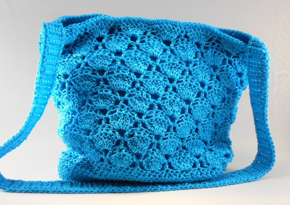 Turquoise Nylon Crochet Cross Body Purse