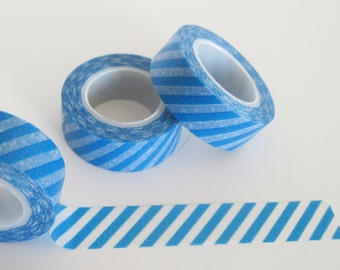 Royal Bright Blue Stripe on white / clear  Washi Tape - 11 Yards / 10 Meters  #S53