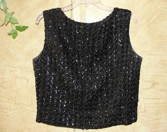 Vintage 1950s 1960s  sleeveless black sequined shirt size large