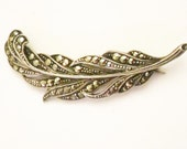 Vintage Marcasite Feather . Brooch.Sterling.
