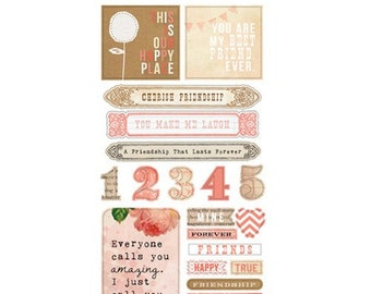 Glitz Design Hello Friend Title Stickers for Scrapbook Pages, Paper Crafting, Vintage Scrapbooking