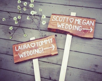 Rustic wedding directional sign with names and arrow with stake.  ONE