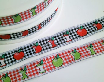 "1 m Woven Ribbon ""Apples"" 14 mm"