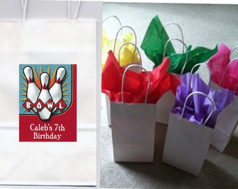 Bowling party favor goody bags personalized set of 10