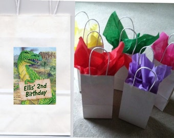 Dinosaurs party favor goody bags personalized set of 10
