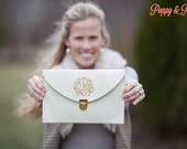 Cream Monogram Clutch Purse!!