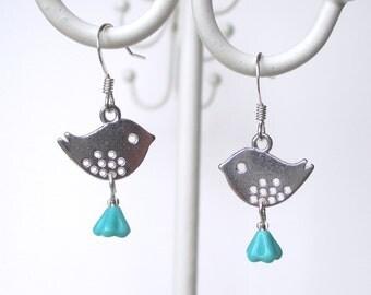 Little bird earrings - dangle earrings - birdie earrings - aqua earrings - bird jewelry - etsy uk