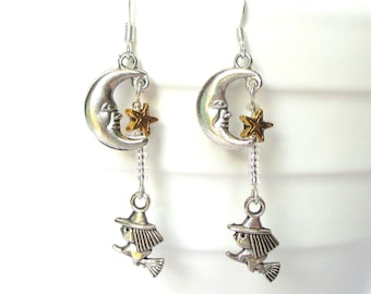Halloween earrings - tiny witch and broomstick earrings with moon face and gold star - flying witch - Uk seller