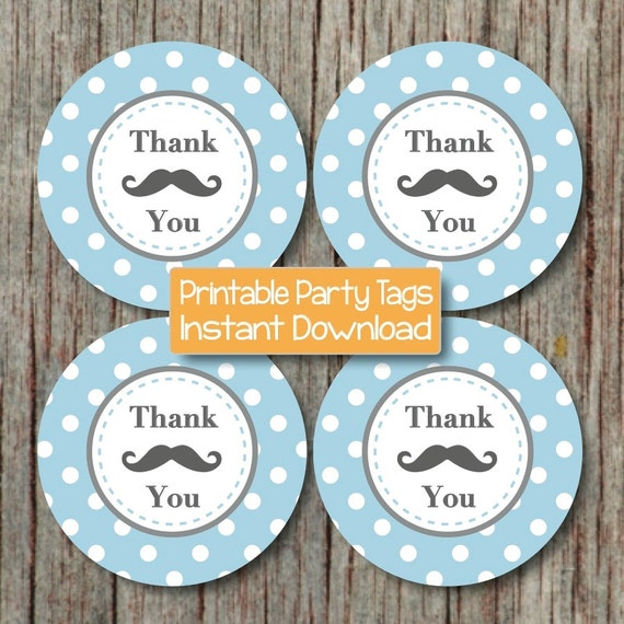 baby shower label template for favors - items similar to mustache thank you tags baby shower
